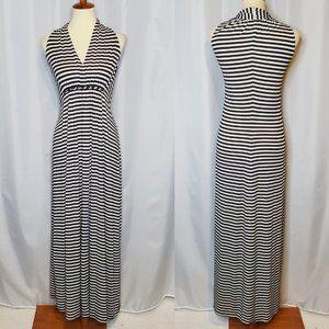 Chico's Black and White Striped Maxi Dress